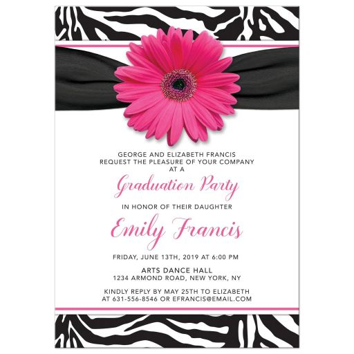 Chic black and white zebra print and pink gerbera daisy graduation party invitation