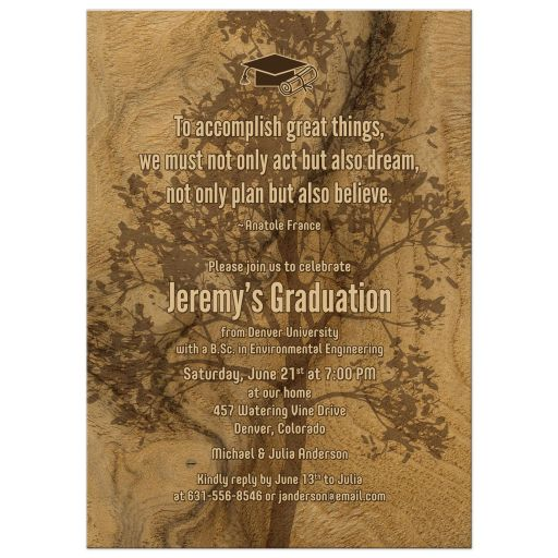 Tree Wood Elegant Graduation Invitation College University
