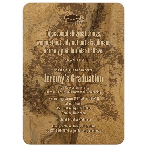 Woodgrain tree silhouette natural eco graduation party invitation front biology ecology botany