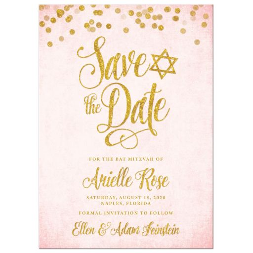 Blush Pink & Gold Bat Mitzvah Save the Date Cards by The Spotted Olive - Front
