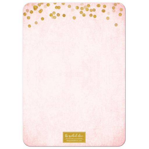 Blush Pink & Gold Bat Mitzvah Save the Date Cards by The Spotted Olive - Back