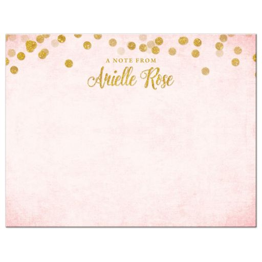 Blush Pink & Gold Personalized Note Cards by The Spotted Olive - Front