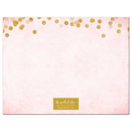 Blush Pink & Gold Personalized Note Cards by The Spotted Olive - Back