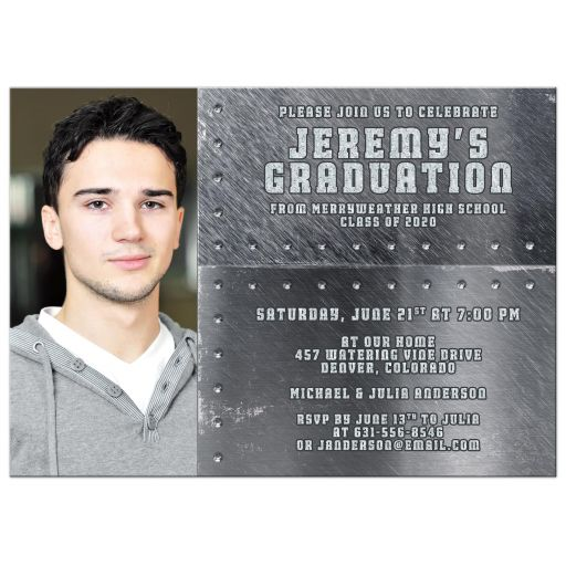 Boys High School Grad Invitation Photo Grunge Metal Rivets