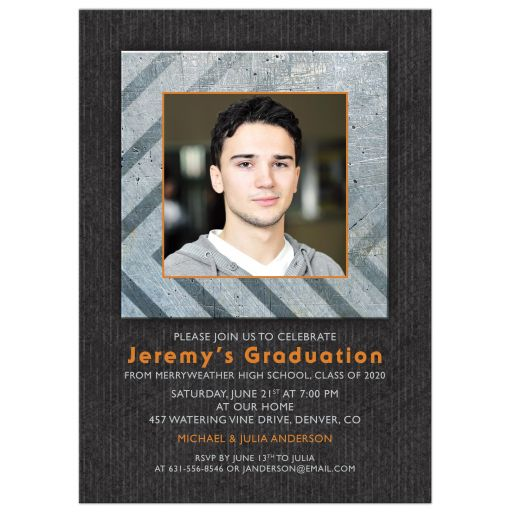 Boys Mans Grad Invitation Photo Grunge Metal Orange Grey