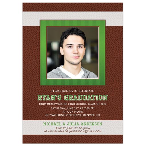 Boys Photo Grad Invitation American Football Brown Green
