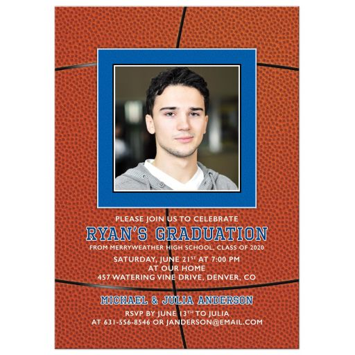 Boys Photo Grad Invitation Basketball Orange Blue