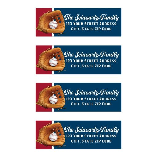 Red, white, and blue Baseball or Softball with Glove return address mailing labels with personalization and fun, sports theme fonts.