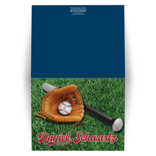 personalized Baseball or Softball theme Bar Mitzvah or Bat Mitzvah thank you card with a baseball bat, brown leather ball glove, and a red and white baseball with a blue Star of David on it on a green grass field.