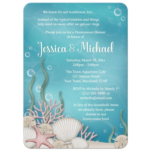 Honeymoon Shower Invitations - Whimsical Under the Sea