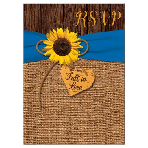 ​Rustic burlap and wood autumn wedding response reply rsvp enclosure card insert with a cobalt or french blue ribbon, a twine bow, and sunflower on it with a wood heart that says Fall in Love on it.