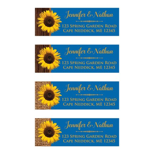 Personalized royal blue or cobalt blue sunflower return address labels with burlap and wood.
