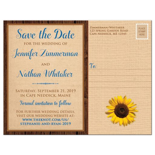 ​Rustic burlap and wood autumn wedding save the date postcard with a cobalt or royal blue ribbon, bow, and sunflower on it with a wood heart that says Fall in Love on it.
