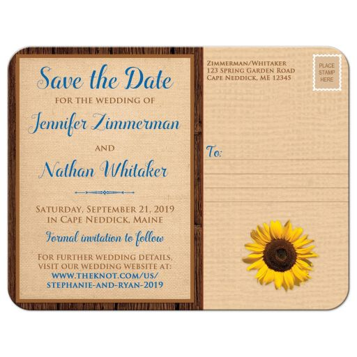 Rustic burlap and wood autumn wedding save the date postcard with a cobalt or royal blue ribbon, bow, and sunflower on it with a wood heart that says Fall in Love on it.