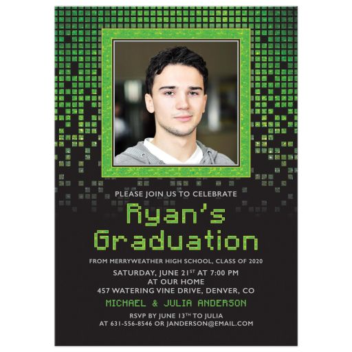 Photo Graduation Invitation Video Game Computer High Tech Green