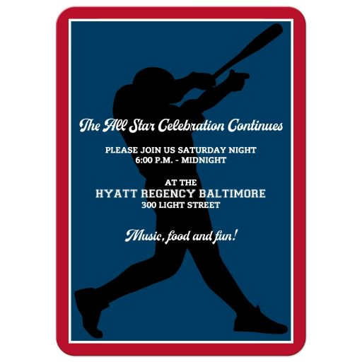 Baseball or Softball theme Bar Mitzvah or Bat Mitzvah invitation in red, white, and blue with Star of David.