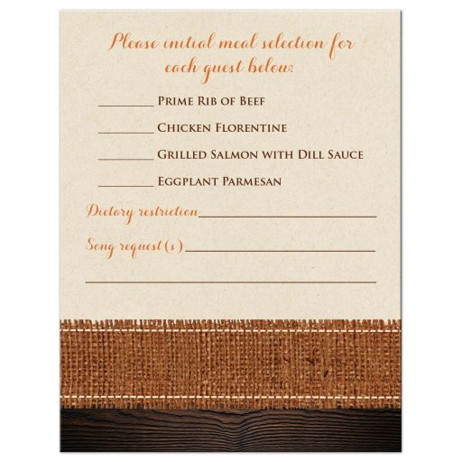 Rustic burlap and wood autumn maple leaves wedding response reply RSVP enclosure card insert in cream, orange, yellow, gold, and brown.