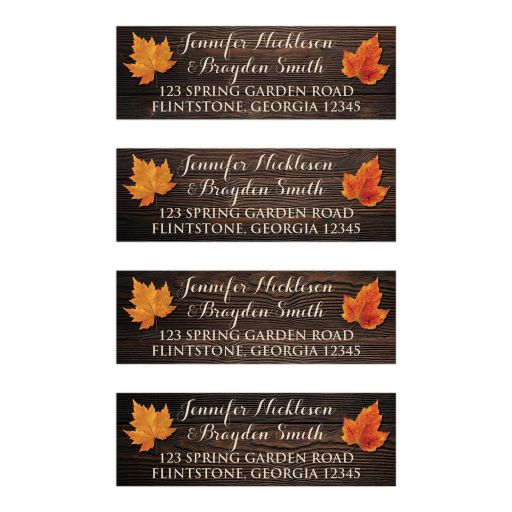 ​Personalized ​Orange and Gold Fall Maple Leaves on Simulated dark Brown Wood Grain Wedding Return Address Labels.