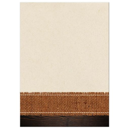 Burlap and wood autumn maple leaves wedding invitation in cream, orange, yellow, gold, and brown.