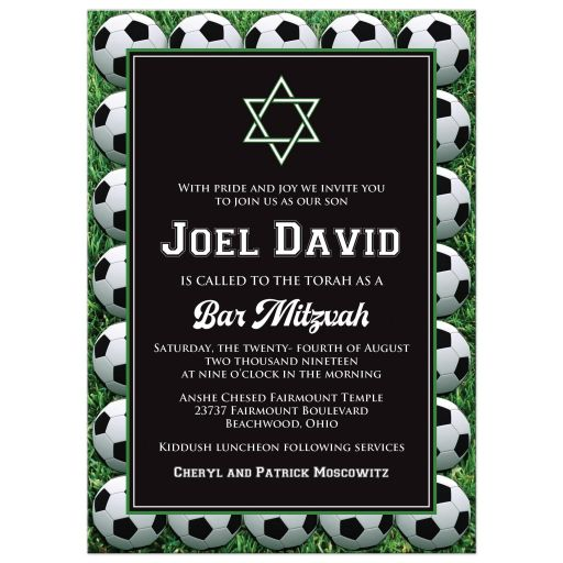 Black, white and green Soccer or Football Bar Bat Mitzvah invitation with soccer balls, grass, and Star of David.
