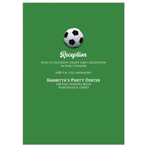 Black, white and green Soccer or Football Bar Bat Mitzvah invite with soccer balls, grass, and Star of David.