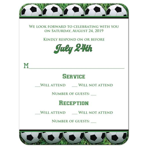 Soccer ball World Cup football Bar or Bat MItzvah RSVP reply response card with green grass and black and white soccer balls.