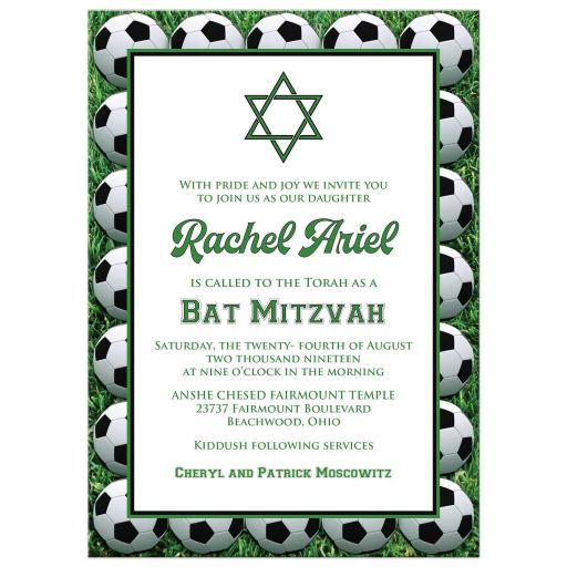 ​Best black, white and green Soccer or Football Bat Mitzvah invitation with soccer balls, grass, and Star of David.