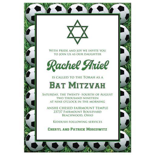 Soccer Balls on Green Grass Soccer Bat Mitzvah Invitation