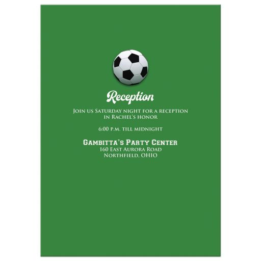 Best black, white and green Soccer or Football Bat Mitzvah invitation with soccer balls, grass, and Star of David.