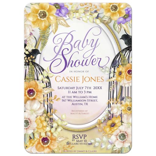 Floral Birdcage Baby Shower Invitation