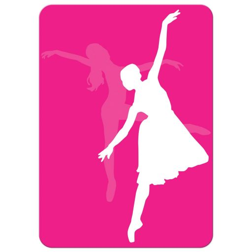 Modern dance, dancer, ballet Bat Mitzvah invitation with neon stripes in yellow, lime green, hot pink, turquoise blue, and purple on a white background with a dancer and Star of David.