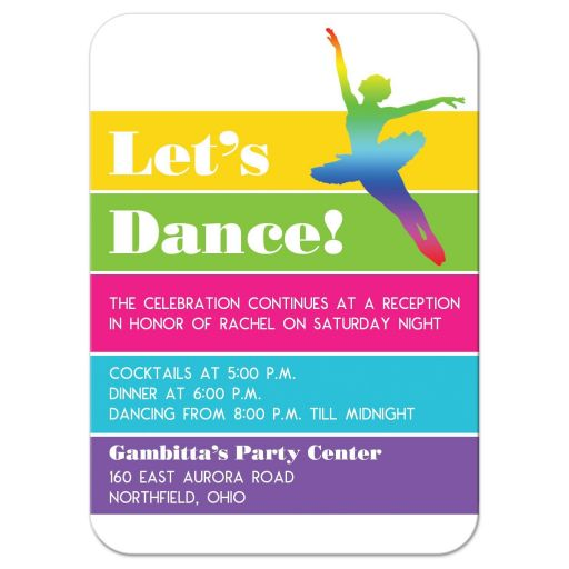 ​Modern dance, dancer, ballet ballerina Bat Mitzvah reception party invitation with neon stripes in yellow, lime green, hot pink, turquoise blue, and purple on a white background with dancers.