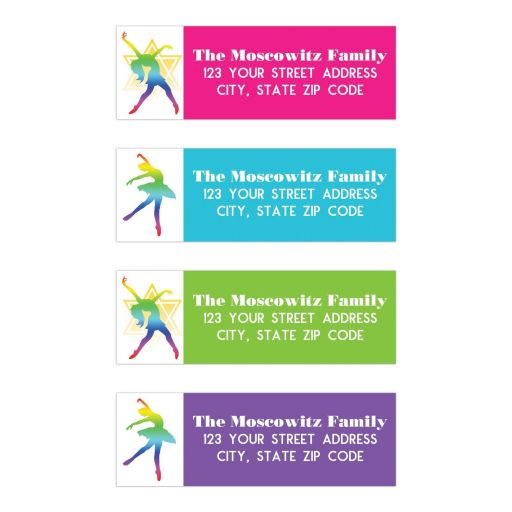 Dance, Dancer, Dancing theme Bat Mitzvah return address mailing labels in hot pink, lime green, aqua blue, and purple with a rainbow colored dancer holding a dance pose with a yellow Star of David behind the dancer.