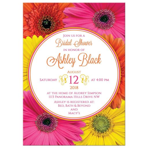 Hot pink, orange, and yellow gerbera daisy bridal shower invitation front