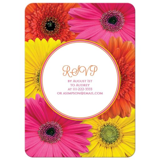 Hot pink, orange, and yellow gerbera daisy bridal shower invitation back