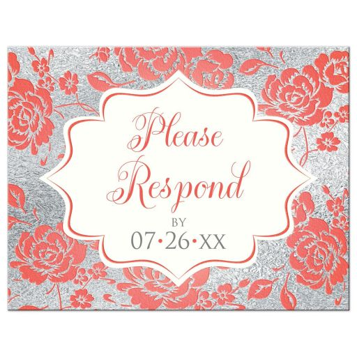 ​Coral, white and silver gray floral wedding response reply RSVP postcard with decorative scroll.