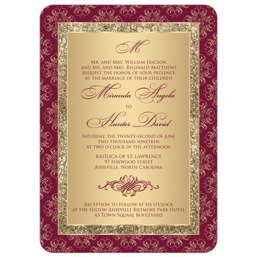 Monogrammed burgundy and gold glitter damask, ornate scrolls wedding invitation.