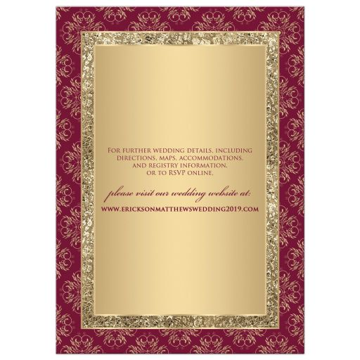 Monogram burgundy and gold glitter damask, ornate scrolls wedding invitation.