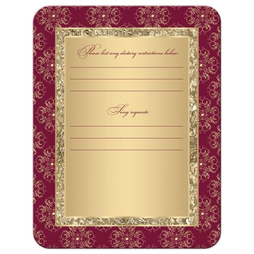 Burgundy and gold glitter damask, ornate scrolls wedding response enclosure cards.