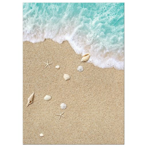 turquoise ocean waves and beach sand wedding invitation