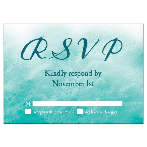 turquoise ocean waves and beach sand RSVP