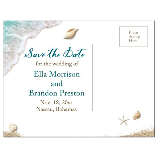 turquoise ocean waves and beach sand save the date