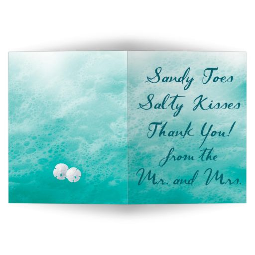 turquoise ocean waves and beach sand thank you card