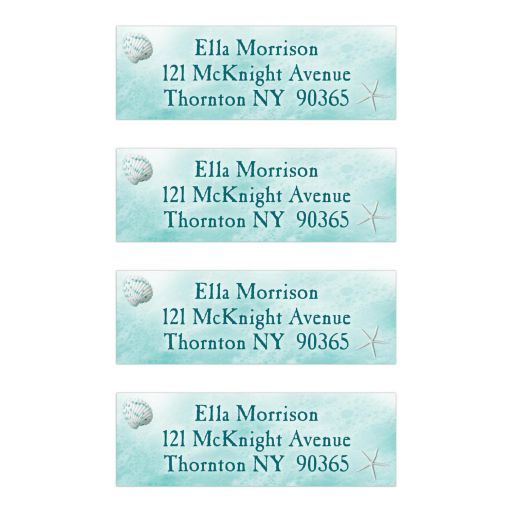 turquoise ocean waves and beach sand address labels