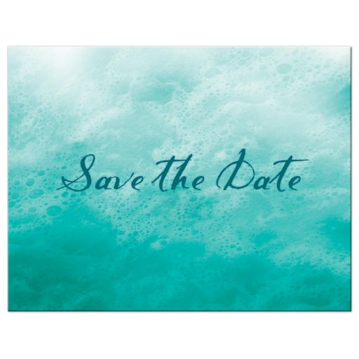 turquoise ocean waves and beach sand save the date postcard