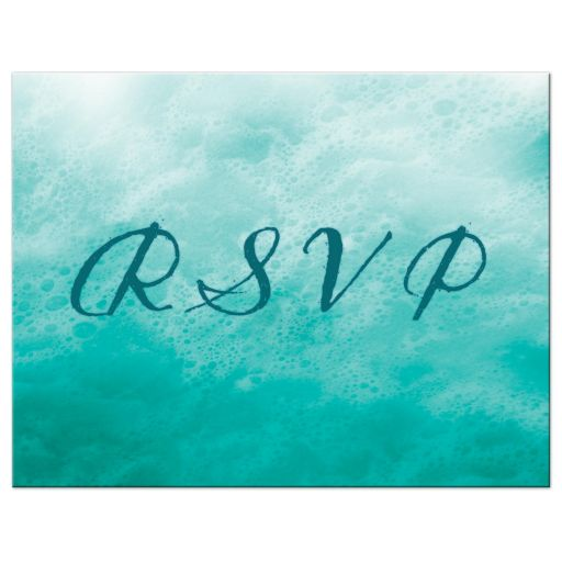 turquoise ocean waves and beach sand RSVP postcard