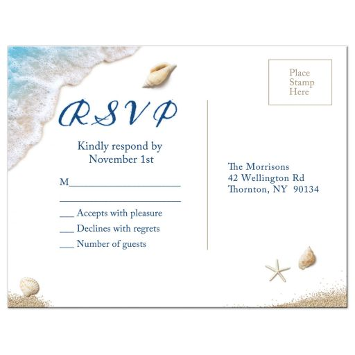 ocean waves and beach sand RSVP Postcard