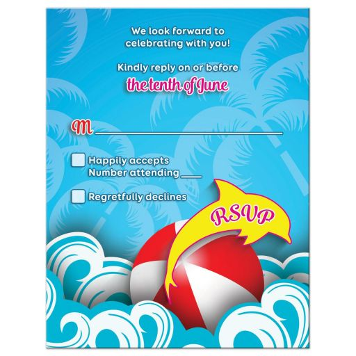 Modern Beachball Dolphin Sun Waves Beach Bat Mitzvah RSVP Card