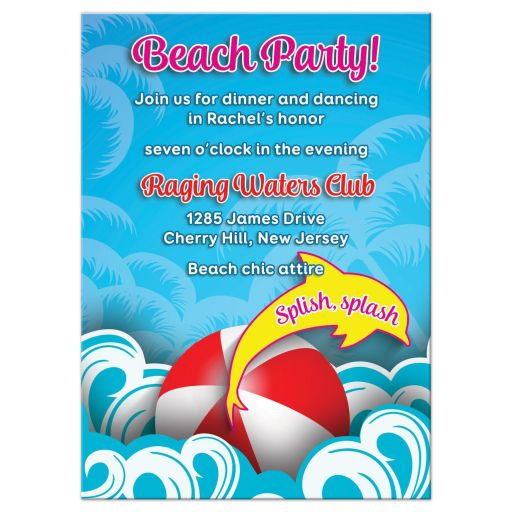 Modern Beachball Dolphin Sun Waves Beach Bat Mitzvah Reception Party Card