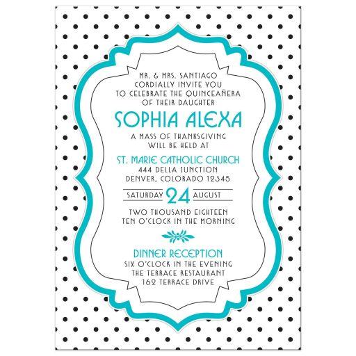 Chic black, white, turquoise polka dot Quinceañera birthday invitation front